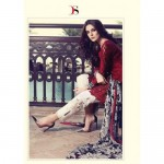 55005 RED AND WHITE MARIA B LAWN EMBROIDERED AND PRINTED PAKISTANI STYLE SUIT