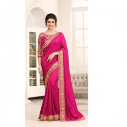 17706 PINK KASEESH PRACHI GEORGETTE SAREE WITH HEAVY EMBROIDERED BLOUSE