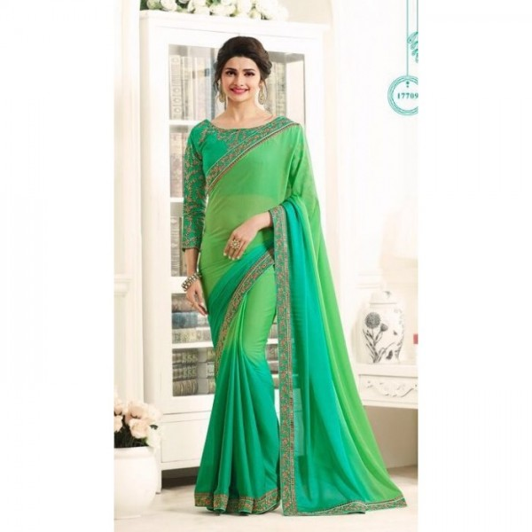 17709 GREEN KASEESH PRACHI GEORGETTE SAREE WITH HEAVY EMBROIDERED BLOUSE