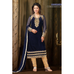 71007 Navy Blue Straight Velvet Salwar Kameez Suit