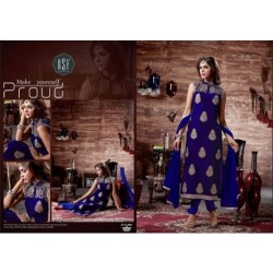 BLUE DIMPY VELVET DESIGNER WINTER SUIT