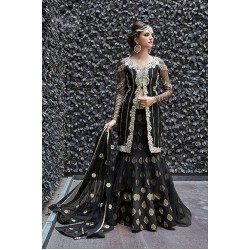 16005 BLACK ZOYA CRYSTAL WEDDING WEAR LEHENGA