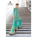 12001-B LIMPET SHELL TURQUOISE ORGINIAL ZOYA SHADES STYLISH WEDDING WEAR (4 PIECE SUIT)